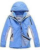 Qitun Damen 3 in 1 Outdoor Jacken Skifahren Bergsteigen warm Winddichte Bekleidung atmungsaktive Klettern Kleidung Himmelblau L