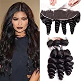 Maxine Brazilian Loose Wave Hair With Lace Frontal 3 Bundles 10A Virgin Human Hair and Swiss Lace Frontal Closure13x4 For Women 18 20 22 with 16 Inches Frontal