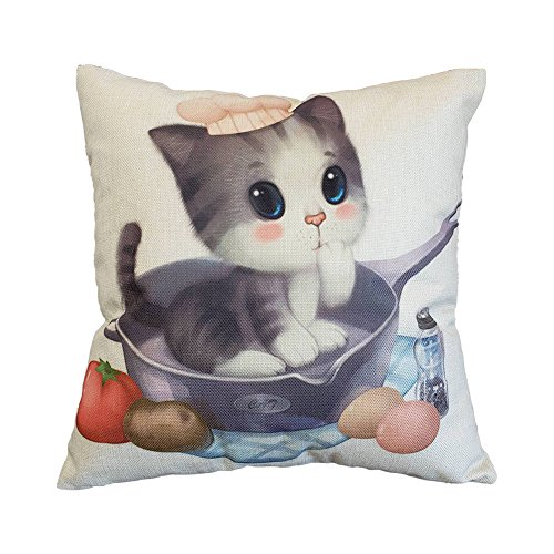 BIGBOBA Cotton Linen Pillow Case Cat Pattern Sofa Cushion Cover Soft Comfortable Decor for Car Sofa, 45 * 45 CM (A)