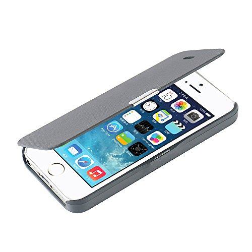 MTRONX für iPhone 5 Hülle, iPhone 5s Hülle, iPhone SE Hülle, Magnetisch Dünn Leder Folio Flip Klapphülle Etui Schutzhülle Tasche Case Cover für Apple iPhone SE, iPhone 5s iPhone 5 - Grau(MG-GY) (Folio Case Für Iphone 5s)