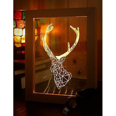 22*19*7.5CM 3 D Frame madera regalo creativo de luz nocturna Led estéreo Marco Regalo de Navidad Luz LED Luz Lámpara de mesa ,