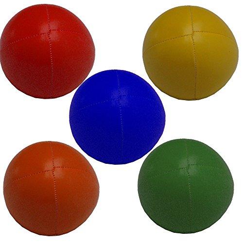 Set 5 Jonglierbälle 62mm 90g jede (Uni Farbe) Gelb, Grün, Blau, Rot, orange