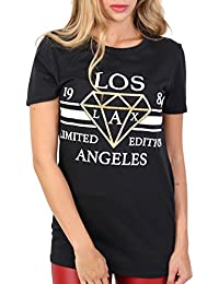 PILOT® Women's Los Angeles Print Slogan T-Shirt in Black