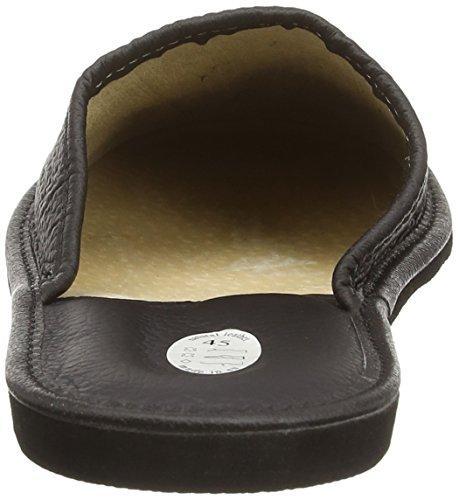 Natural Line Herren Leder-Hausschuhe, mit orthopädischer Innensohle oder mit Wolle gefüttert, erhältlich in verschiedenen Farben Schwarz