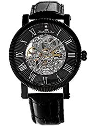 Lindberg & Sons SK14H021 - Reloj automatico analogico de pulsera con diamante real y con correa de cuero negro, para hombre, diseño esqueleto