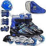 FL Bygo Kinder Rollschuhe Skates männer und Frauen einstellbare pu Gummi räder gerade Reihe atmungsaktiv Flash Rollschuhe Set,Blue,M