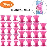 Hair Curlers, MLMSY 30Pcs Silicone No Heat Hair Rollers No Clip Magic Soft Rollers Hair Curling Tools DIY Salon Hair Care Hair Styling Tool, Pink (30 Pcs)