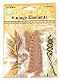 Little Birdie 10-Piece Mixed Media Ferns and Petals Assortment, Brown