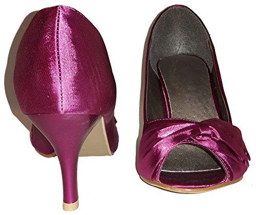 Talons hauts, Stiletto Pumps High Heels sandales, très sexy, bleu, violet, blanc, rose, violet, pourpre, beige, pink, chaussures femme, modèle 11064102002392, escarpins. Bordeaux avec une boucle.