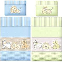 Aminata Kids Bettwäsche Kinder 100 x 135 Jungen Mädchen Baumwolle Tiere Wildetiere Zootiere Zebra Löwe Tiger Kinderbettwäsche Babybettwäsche hellblau Babyblau blau Zoo Kinderbett Babybett