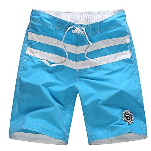 HOOM-Nouveau pantalon de plage d'été occasionnels Shorts hommes Camo coton taille lâche cinq pantalons shorts Lake blue a