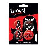 EMILY THE STRANGE 1 - BADGE PACK - PACK OF 4 X 38MM BADGES - BRAND NEW