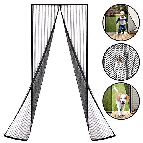 Puerta mosquitera de mosca magnética de lujo Mosquitera Mosquitera con imanes y marco completo Velcro Mantener lejos de mosquitos, cortina de malla se adapta a la puerta hasta 90 x 210 cm (Negro1)