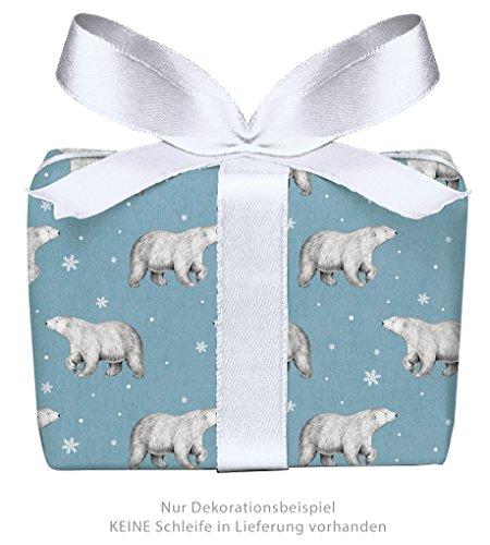 Set di 3 fogli di carta da regalo natalizia, a forma di orso di ghiaccio, blu, in carta kraft, effetto vintage, per Natale e Avvento, carta natalizia per regali di Natale, calendario dell'Avvento (formato: 50 x 70 cm)