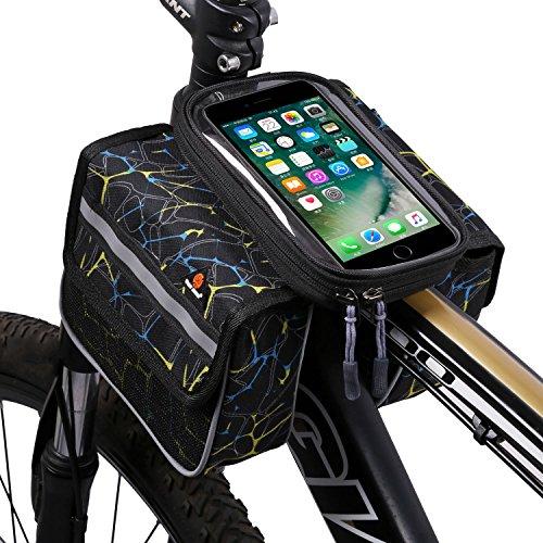 West Biking großes Fassungsvermögen Verschleißfest Outdoor Fahrrad vorne Fram Tasche mit 15,2cm Handy Touch Bildschirm Halter schwarz