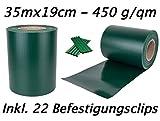 Enjoy-Quality Premium - 450 g/qm Sichtschutzstreifen, Moosgrün, Zaunfolie 35mx19cm - inklusive 22 Befestigungsclips - Windschutz/Doppelstabmattenzaun/Zaunblende/Zaunfolie/Hochwertig und Original - Sichtschutz/Sichtschutzfolie/Sichtschutzstreifen/Zaunelemente/Stabmattenzaun/Sichtschutzmatte für den Garten