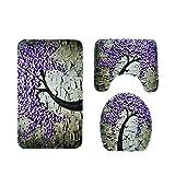 TianranRT 3 stücke rutschfeste saug griff bad matte bad küche teppich fußmatten dekor (Lila)
