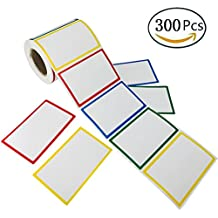 """Plain Name Tag Labels Colorful Border Name Tag Stickers, 300 Stickers / 1 Roll, 3.5"""" x 2.25"""", 4 Colors"""