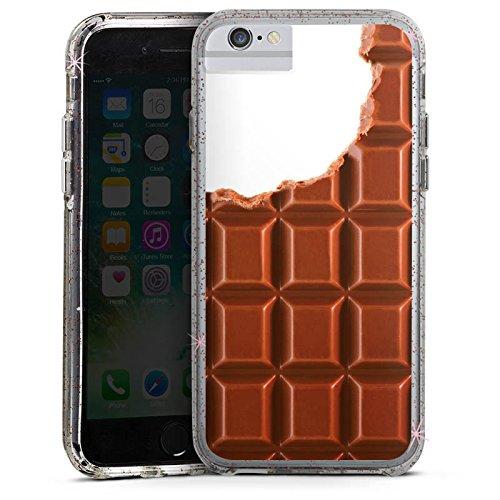 Apple iPhone 6s Bumper Hülle Bumper Case Glitzer Hülle Schokolade Chocolate Schoko Bumper Case Glitzer rose gold