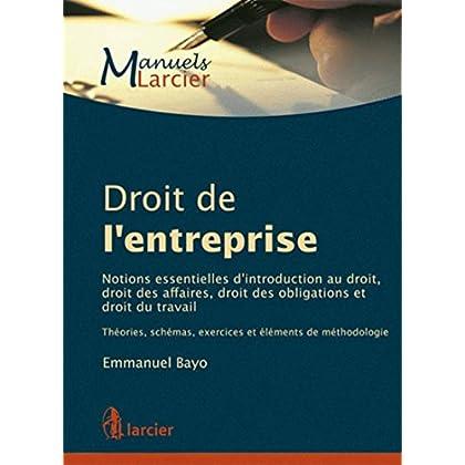 Droit de l'entreprise: Notions essentielles d'introduction au droit, droit des affaires, droit des obligations et...