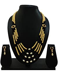 More&More Golden & Black Pearl Necklace Set