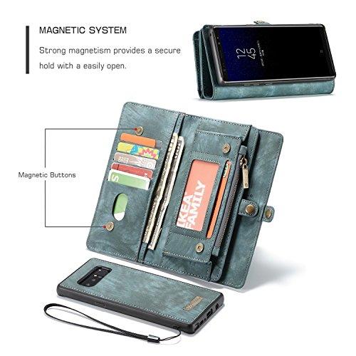 Haoweiwei Für Samsung Galaxy Note 8 Luxus handgefertigte Trifold Leder Brieftasche Fall mit abnehmbaren Rückendeckel & Magnetverschluss & Card Slot & Zipper & Landyard (Color : Blue) -