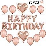 Tumao 25 pcs Decoración Cumpleaños de Globos, Oro Rosa Happy Bi