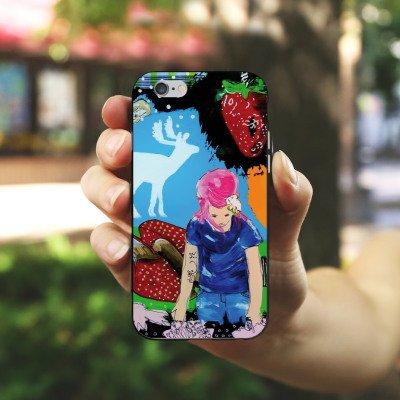 Apple iPhone X Silikon Hülle Case Schutzhülle Erdbeere Sekt Hirsch Silikon Case schwarz / weiß