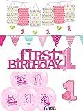 10-tlg. Partyset 1. Geburtstag rosa - Girlanden, Kerze, Hängeswirl, Luftballons u. Aufsteller