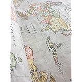Color Beige mapa del mundo 3funda cortina para tapicería Material tela de algodón–140cm extra de ancho, Beige (se vende por metros)