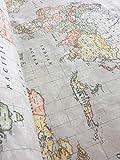 Beige World Map Print Designer Baumwolle Stoff Material