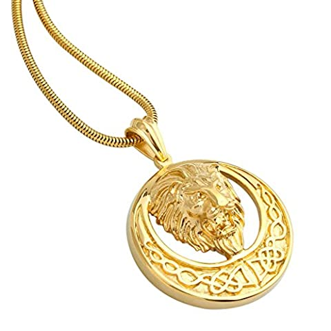 AnaZoz Jewelry 316 Stainless Steel Plate 18k Gold Mens Necklace Snake Chain Circle Lion Head Pendant