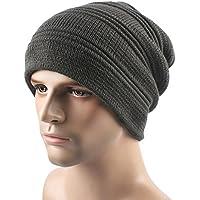 MEICHEN-piega hat in inverno cappello di lana unisex outdoor e peluche caldo in autunno e inverno cappello in maglia Berretto da sci,grigio, L(58-60cm)