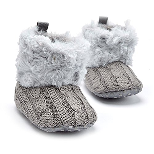 La Cabina Chaussures Bébé Fille garçon -Chaussure Bébé Fille Garçon Premier Pas -Chaussures Souples Confortable - Chaussures Antiglisse(0-18 mois ) (12-18 mois, gris) gris