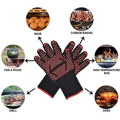 2XK-NOV Premium Grillhandschuhe(2er Set)  500°C hitzebeständig   feuerfest   34cm Lange Ofenhandschuhe   EN407, EN420,Temperaturniveau 4 Zertifiziert  mit Gecko-Effekt (Rot)