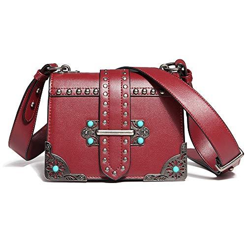 schen Schulter Slung Mode Persönlichkeit Retro Farbe Diamant Breitband Kleine Quadratische Tasche Damen (Farbe : A) ()