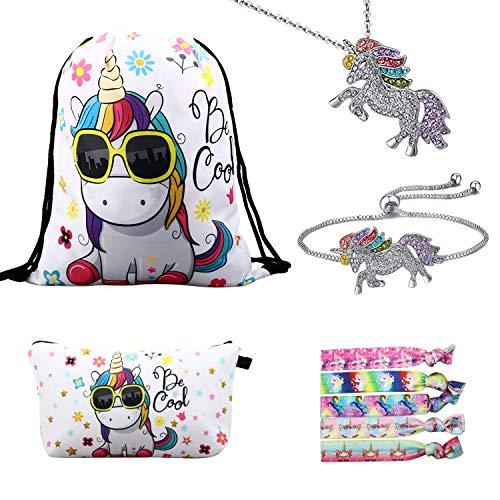 RLGPBON Pack 5 Unicornios Mochila con cordón/Maquillaje Bolsa/Collar de Cadena de aleación/Pulsera/5 Piezas de Lazos para el Cabello Unicornio/Unicornio Drawstring Gift para niñas
