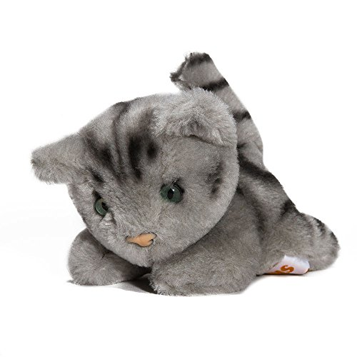Plüschtier Katzenkind getigert - von STEINER - Kuscheltier handgefertigt   Miau Miau   grau-schwarzes Garfield Stofftier   Kinder-Spielzeug   Geschenk-Idee Weihnachten, Ostern, Geburt -
