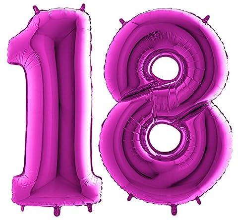 Ballon Zahl 18 in Lila - XXL Riesenzahl 100cm - zum 18. Geburtstag - Party Geschenk Dekoration Folienballon Luftballon Happy Birthday Purple