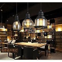 Cafe bar restaurante Sepia cabeza Individual Pequeña cocina barra americana de luz colgantes de cristal simple Lámparas de una botella de vino, negro