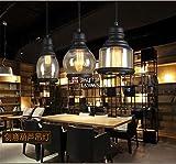 Retro Café Restaurant Bar kleine Pendelleuchte Bar Küche einfaches Fenster Glas Wein Flasche Lampe, schwarz, 13 x 30 cm.