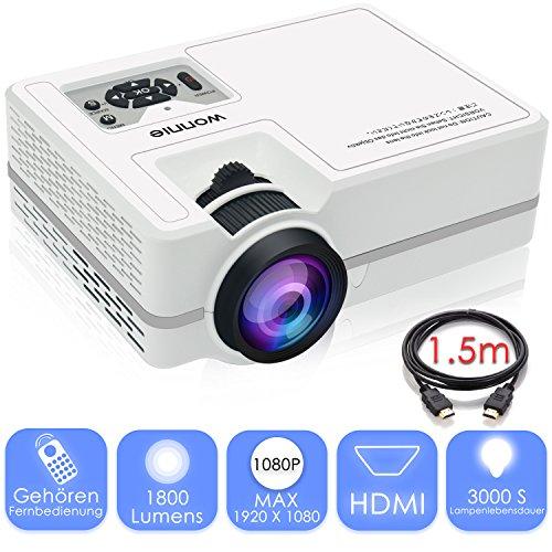 Beamer 1080P, WONNIE Video Projektor 1800 Lumen LCD Multimedia Heimkino Unterstützung, HDMI, USB, VGA, AV für Heimkino, TV Box, Fernseher, Laptops, Spiele, Smartphones