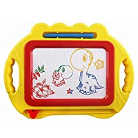 AAA226 Kids Educational Doodle Toy Erasable Magnetic Drawing Board with Pen Xmas Gift (Yellow)