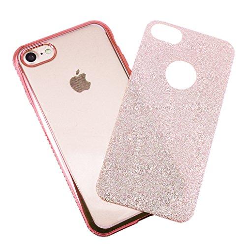 Custodia iPhone 7, Cover iPhone 7, Yoowei® diamante di Bling Custodia Chiaro Cristallo Ultra Sottile Morbido Placcatura TPU Gel Case Cover per iPhone 7 4.7, Nero Rose Gold