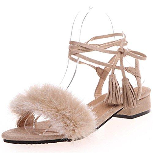 Damen Schuhe Sommer 2017,Kaiki Frauen niedrige Fersen Sommer Troddel mit Haar Schuh Dame Hochzeits Sandelholze Beige