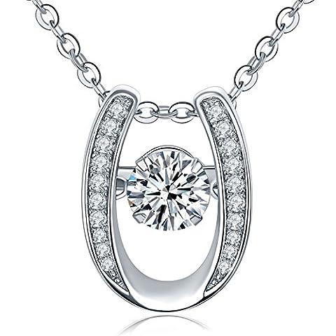 yl Femme Dancing Diamant Argent sterling 6mm 1.42CT Oxyde de Zirconium I Love U Pendentif Collier 45,7cm