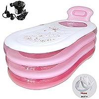 Bañera hinchable plegable y duradera para adultos, bañera hinchable con bomba de aire eléctrica inflable (rosa)
