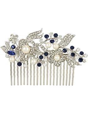 Ever Faith österreichischen Kristall Künstliche Perle Blume Braut Haarkamm Haarschmuck - blau-20-Zähne-Silber-Ton