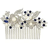 EVER FAITH® Crystal Gatsby Inspired Ivory Color Simulated Pearl Hair Comb - Blue-20-Teeth-Silver-Tone Bild