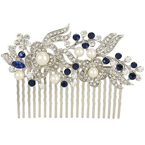 EVER FAITH® un Jardin Fleuri- Peignes Elégant Cristal Autrichien Perle Artificielle Couleur Ivoirin Bleu, Argenté
